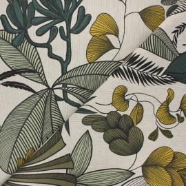 Linen aspect polycotton fabric - green Jakarta x 10cm