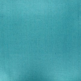 Coated washed linen fabric - lagoon blue x 10cm
