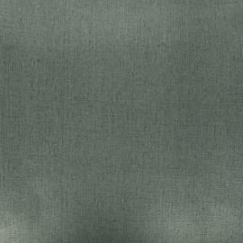 Coated washed linen fabric - khaki green x 10cm