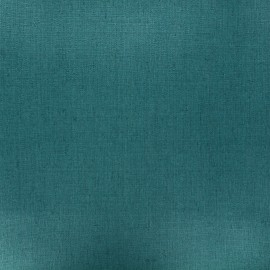 Coated washed linen fabric - peacock green x 10cm