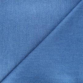 Tissu coton chambray gaufré Rotterdam - bleu x 10cm