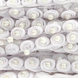 Galon perles sur tulle blanc x 50cm