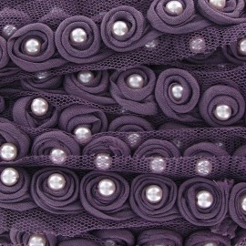 Beads braid trimming on tulle x 50 cm - reddish purple