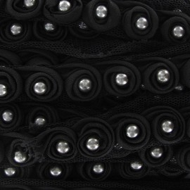 Beads braid trimming on tulle x 50 cm - black