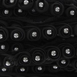 Galon perles sur tulle noir x 50cm
