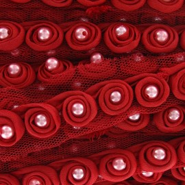 Beads braid trimming on tulle x 50 cm - red