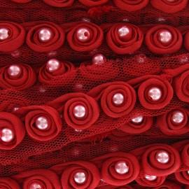 Galon perles sur tulle rouge x 50cm