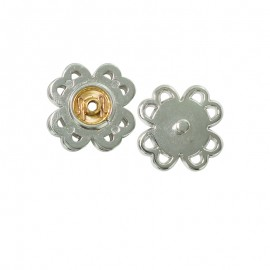 22 mm Snap button to sew - silver Fleur