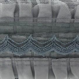 Pleated lace ribbon x 50cm - light grey
