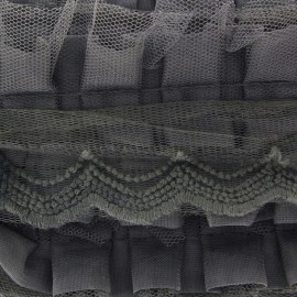 Pleated lace ribbon x 50cm - grey