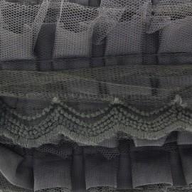 Ruban plissé dentelle gris x 50cm