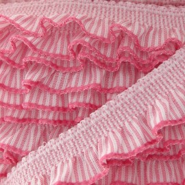 Flounced striped elastic - pink/white