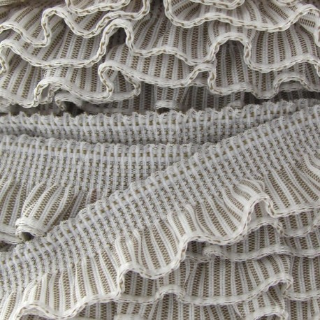 Flounced striped elastic - light beige/white