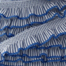Flounced striped elastic - blue/white