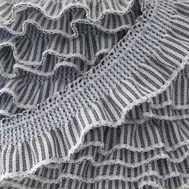 Flounced striped elastic - light grey/white