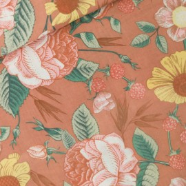 See you at six double gauze cotton fabric - coffee cream Bloom Garden x 10 cm