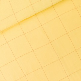 See you at six double gauze cotton fabric - popcorn yellow Thin Grid XL x 10 cm