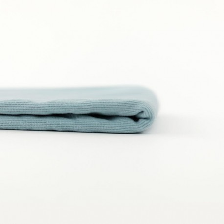 Tissu See you at six jersey bord-côte - bleu tourmaline x 10cm