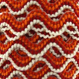 ♥ Coupon 340 cm ♥ Fantasy serpentine 20 mm - ecru/orange/brick-red