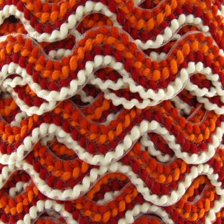 Fantasy serpentine 20 mm - ecru/orange/brick-red