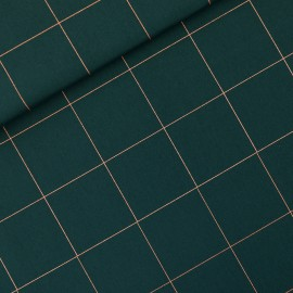 Tissu See you at six toile de coton Thin grid XL - vert Gables x 10cm