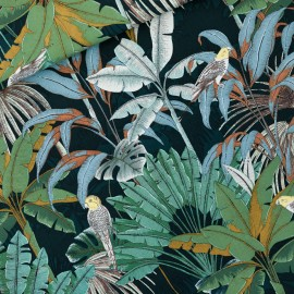 Tissu See you at six toile de coton Jungle - vert Gables x 10cm