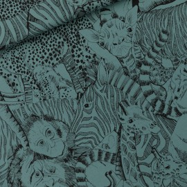 See you at six french terry fabric - Atlantic blue Wild animals x 10 cm