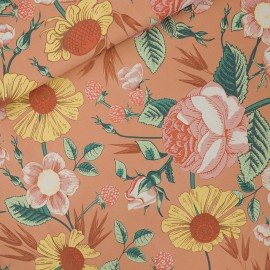 See you at six french terry fabric - coffee cream Bloom garden x 10 cm