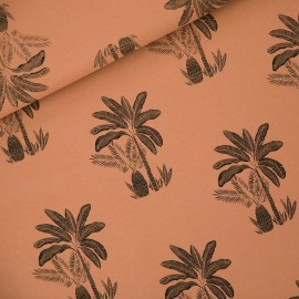 See you at six french terry fabric - pecan brun Palm trees x 10 cm