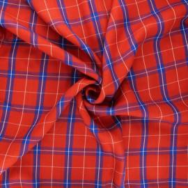 Lurex viscose fabric - red Quadri x 10cm