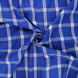 Tissu viscose lurex Quadri - bleu x 10cm