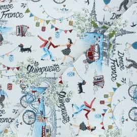 Tissu jacquard Douce France - gris clair x 10cm