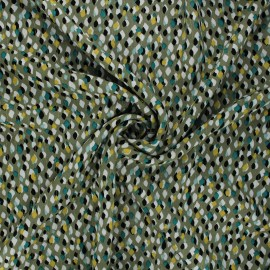 Lurex rayon fabric - khaki green Drop x 10cm