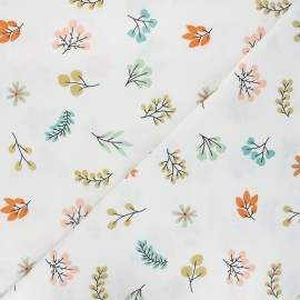 Printed Jersey fabric - white Shiny leaves x 10cm