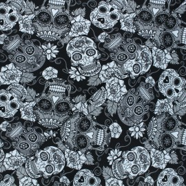 Printed Jersey fabric - black Skulls and flowers x 10cm