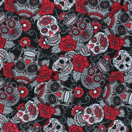 Printed Jersey fabric - red Skulls and flowers x 10cm