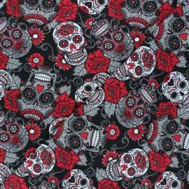 Tissu jersey Skulls and flowers - rouge x 10cm