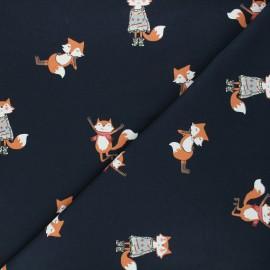 French terry fabric - night blue Cool fox x 10cm