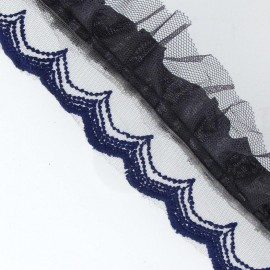 Pleated lace ribbon x 50cm - navy