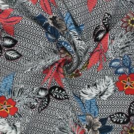 Viscose fabric - white Fiori x 10cm