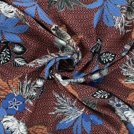 Viscose fabric - terracotta Fiori x 10cm