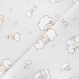 Tissu coton cretonne Nighty teddy - gris clair x 10cm