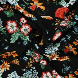 Viscose fabric - black Fleurs sauvages x 10cm