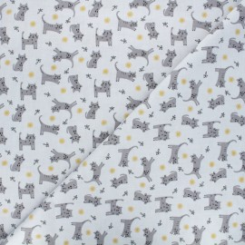 Cretonne cotton fabric - light grey Kitten x 10cm