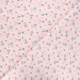 Cretonne cotton fabric - pink Kitten x 10cm