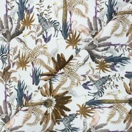 Cretonne cotton fabric - white Jungly x 10cm