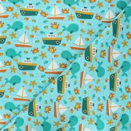 Cretonne cotton fabric - blue Sailing friends x 10cm