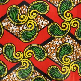 Wax print fabric - red Senyota x 10cm