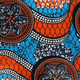 Wax print fabric - orange Guaya x 10cm