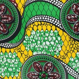 Tissu wax Guaya - vert x 10cm